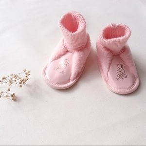 Vintage FLUFFIES pink bunny slippers / booties